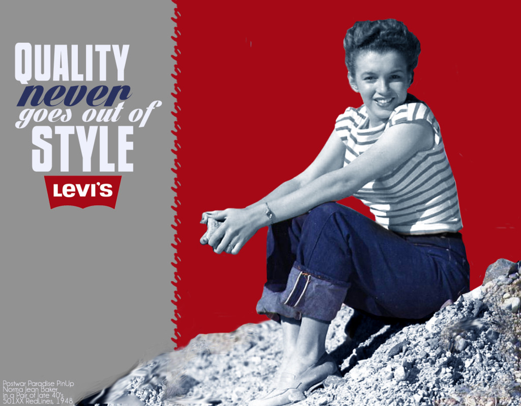 black and white image norma jeane or marilyn monroe in Levis jeans red white blue typography selective color advertisement impressionist style