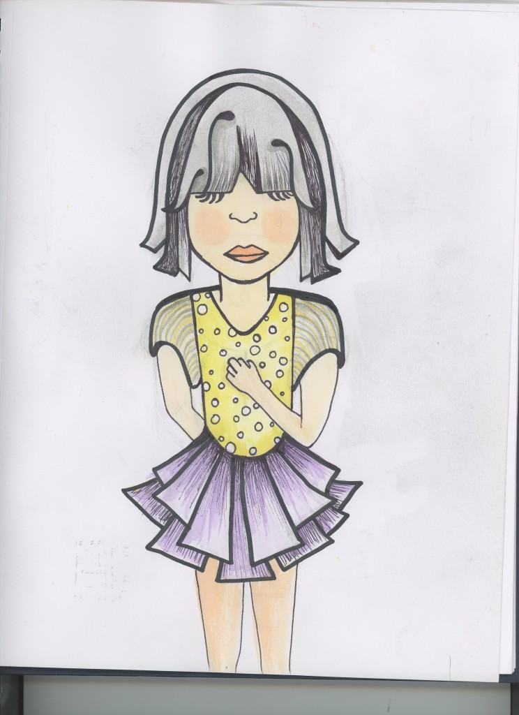 original illustration with watercolor and sharpie girl