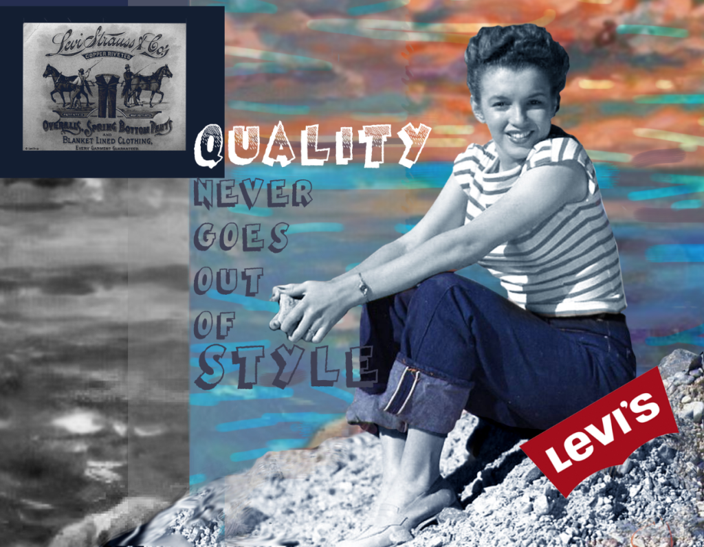 photoshop image Norma Jean marily monroe in Levis Jeans 1940
