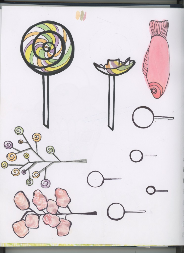 hand drawn watercolor paintings of candy cotton candy lollipops swedish fish